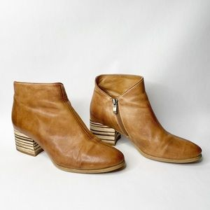 Antelope Tan Leather Block Wood Heel Bootie